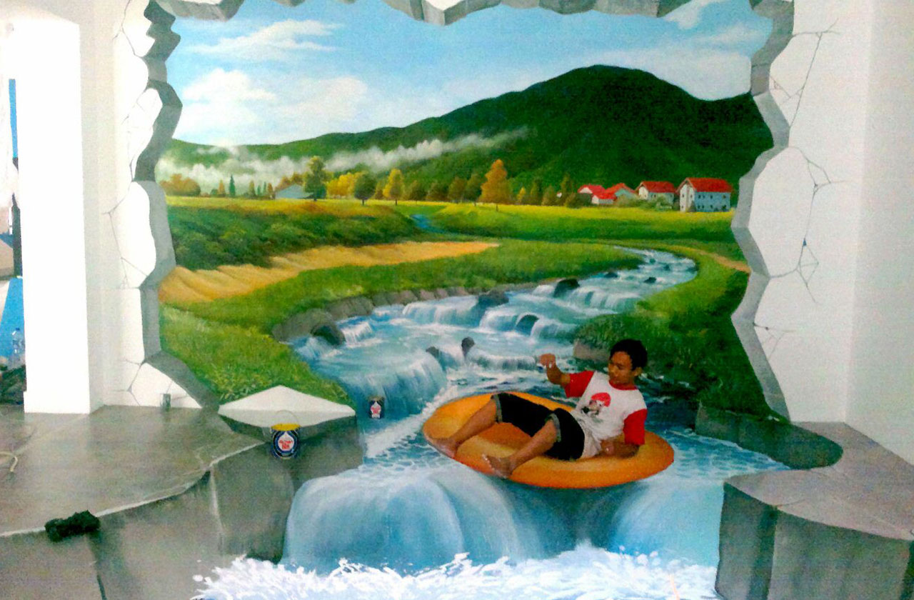 Home indonesia mural jasa lukis mural 3d trick art for 3d mural painting tutorial