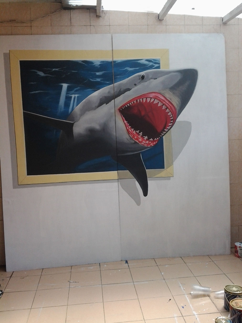 Taking Picture Together With Shark Coming Out From