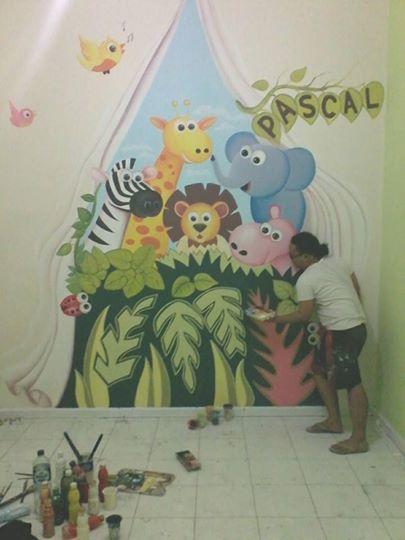 Mural lukisan dinding photobooth di interior ruangan kamar for Mural kartun