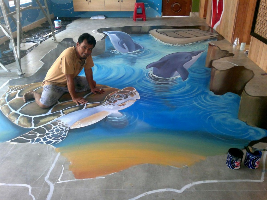 3d trick art indonesia mural for Mural indonesia