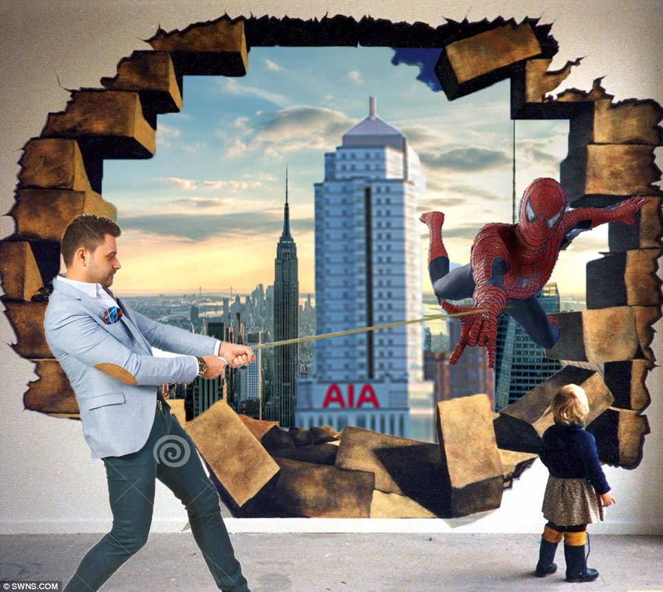 Taking picture with spiderman coming out from wall 3d for 3d mural painting tutorial