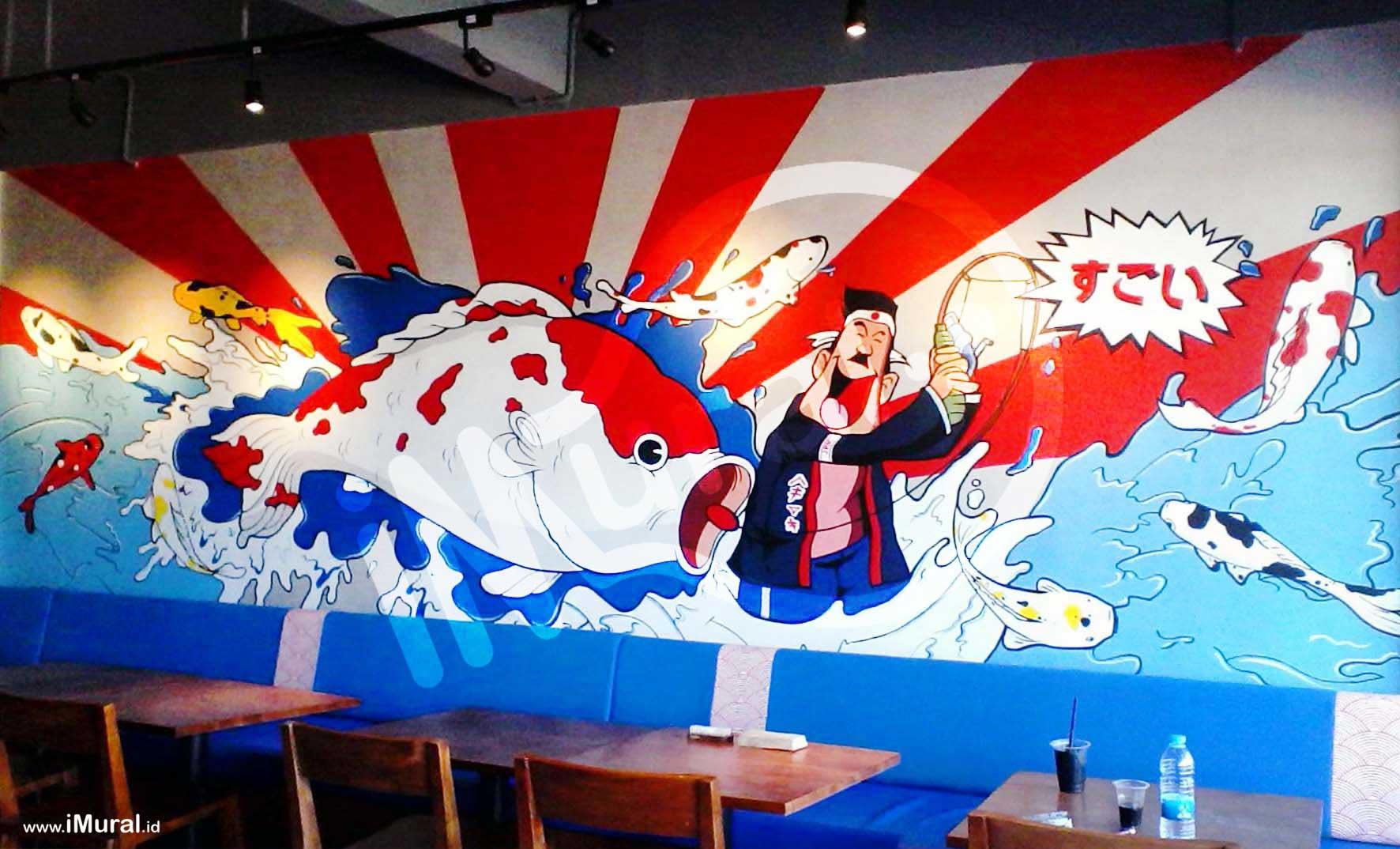 Mural at japanese restaurant imural for Mural indonesia