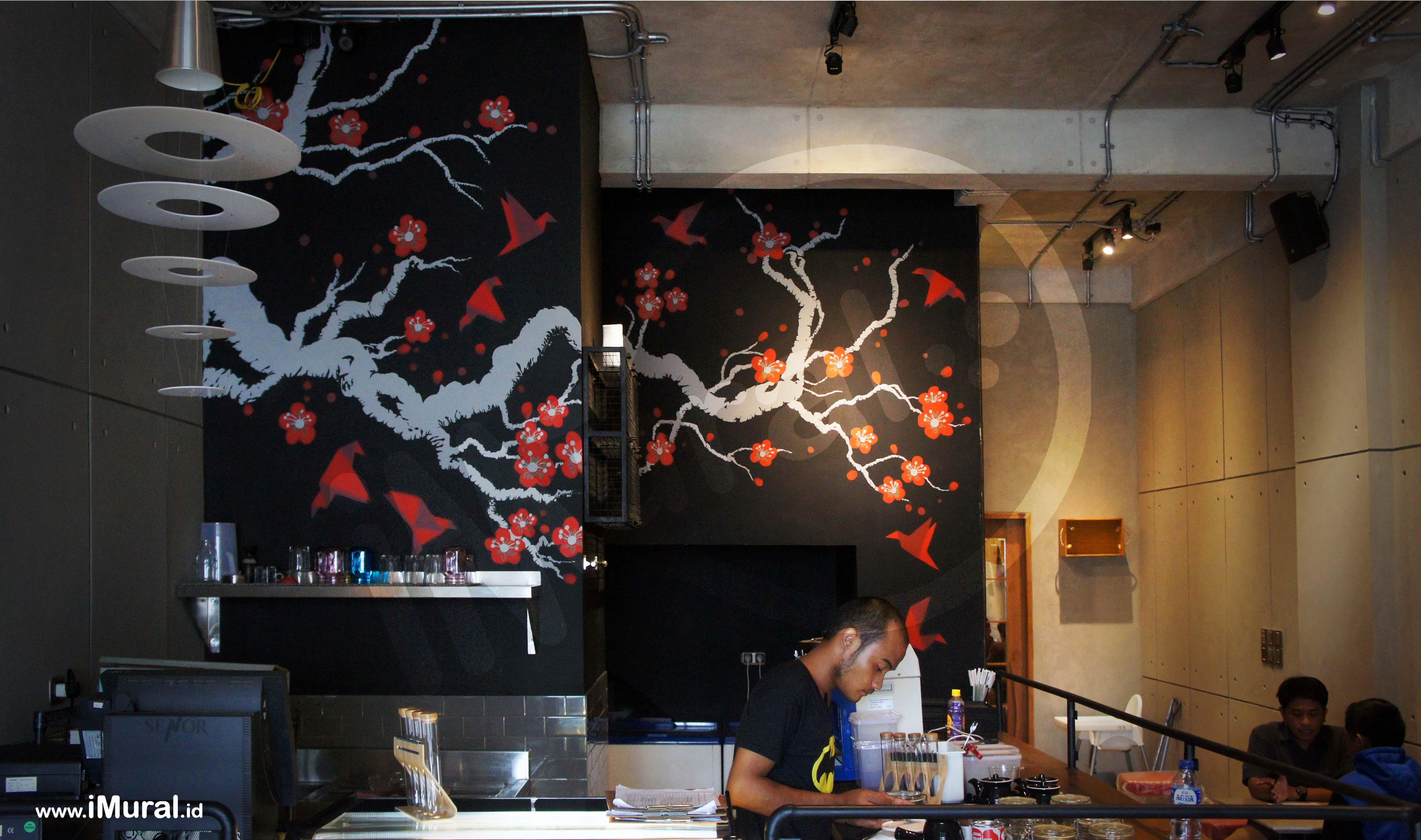 mural at japanese restaurant indonesia mural jasa