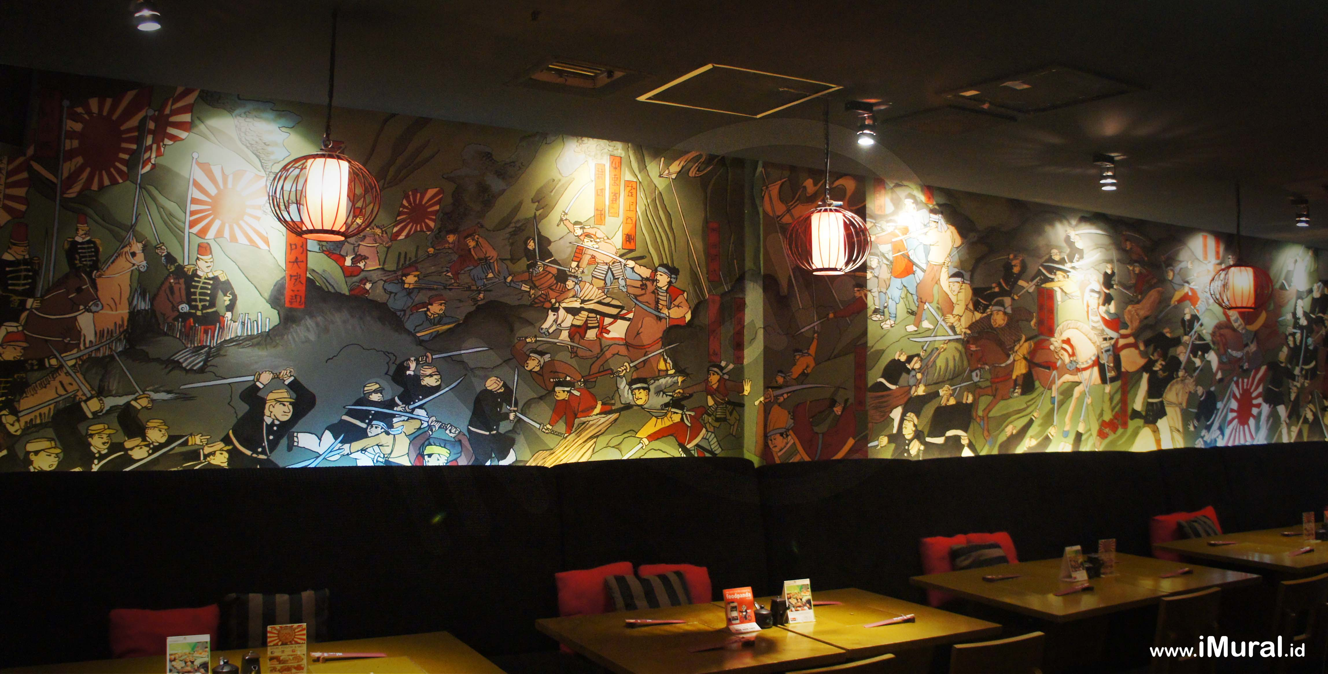Mural at japanese restaurant indonesia mural jasa for Mural restaurant