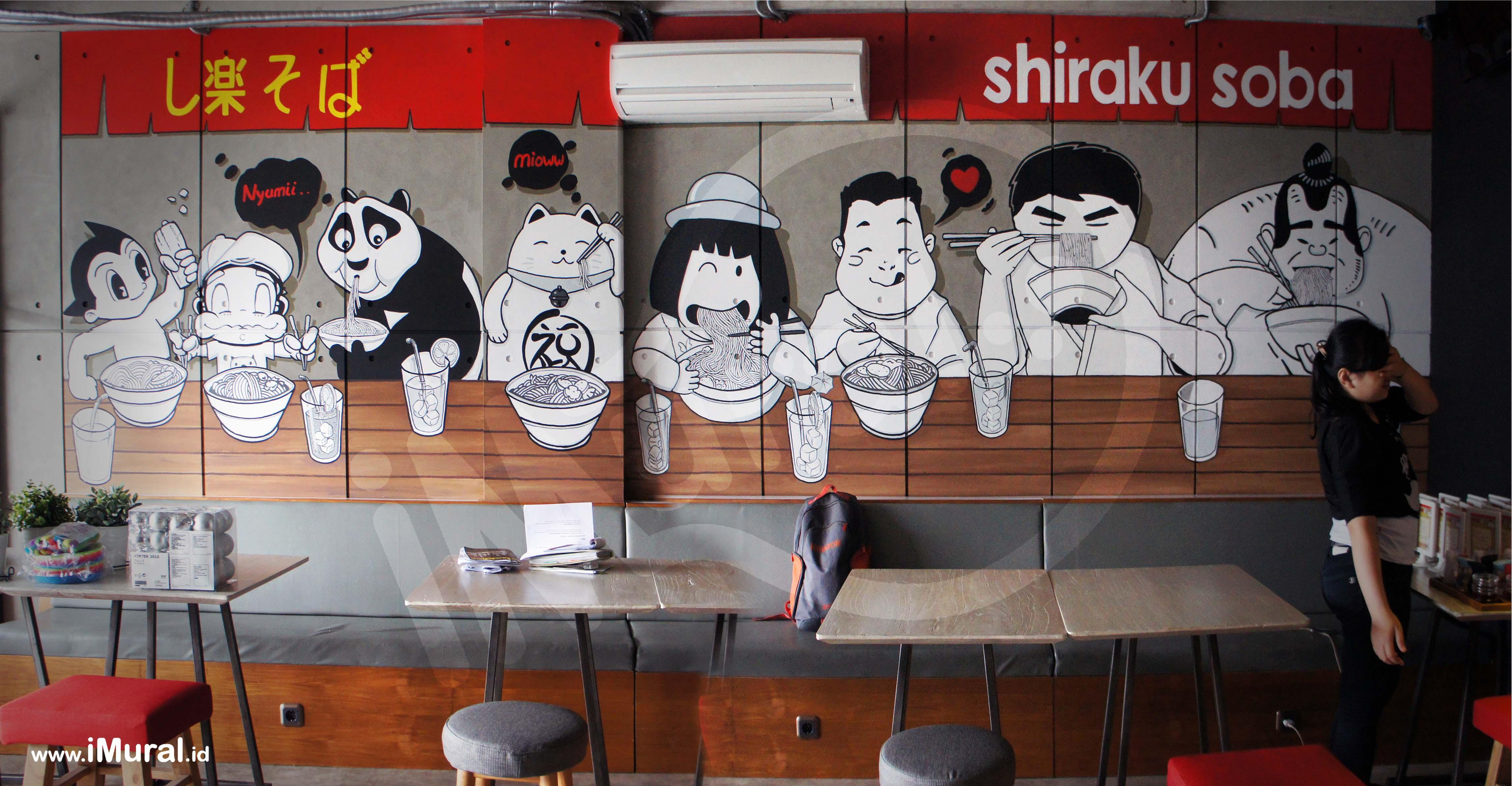 Mural at japanese restaurant imural for Mural untuk cafe
