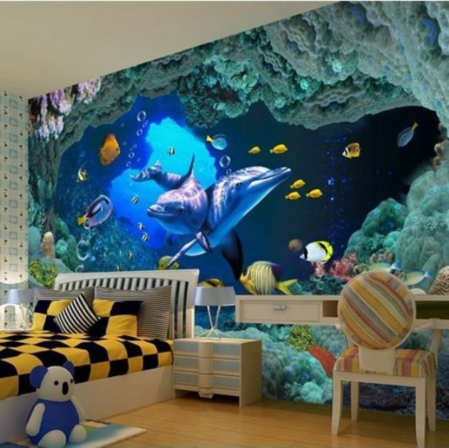 Bahasa ide gambar 3 dimensi wallpaper underwater yang for Mural indonesia